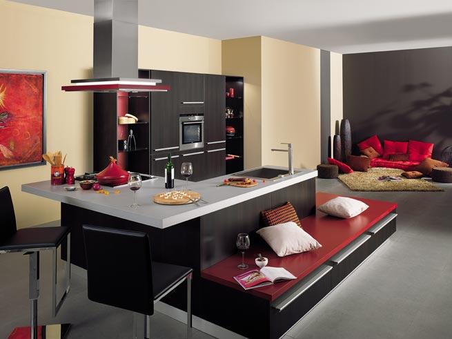 hotte sur ilot central. Black Bedroom Furniture Sets. Home Design Ideas