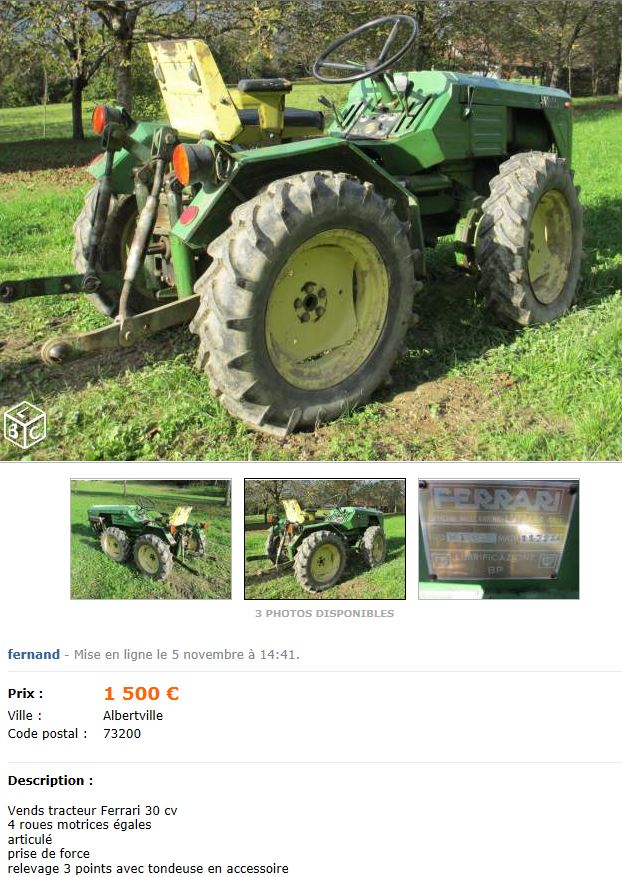 Un ferrari 30 cv 4 roues gales tondeuse 1500 - Roue tracteur tondeuse ...