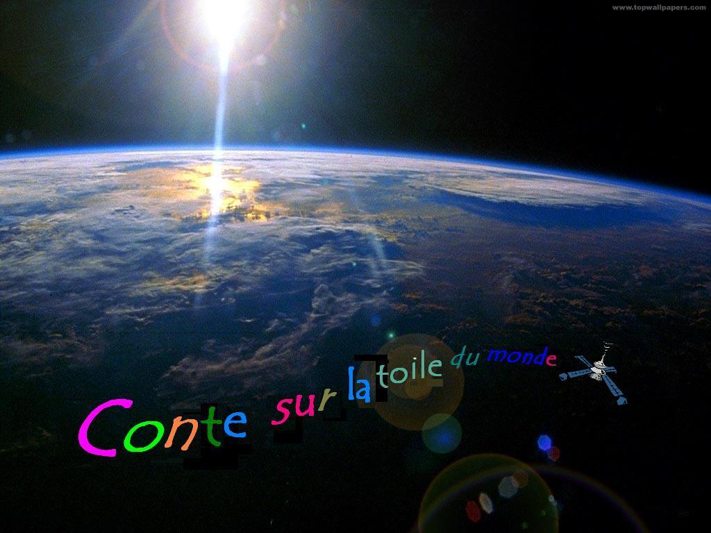 Le satellite du conte sur la toile du monde