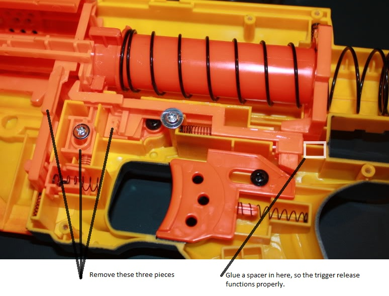 I used an aluminium recon plunger and aftermarket spring. Remove the three  pieces as shown in the image, ...