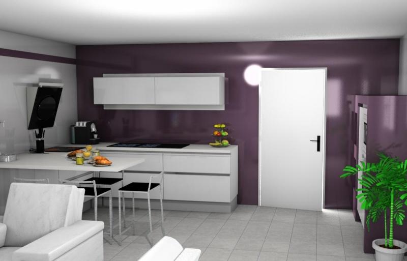 Votre avis sur mon projet de cuisine - Cuisine blanche mur gris ...