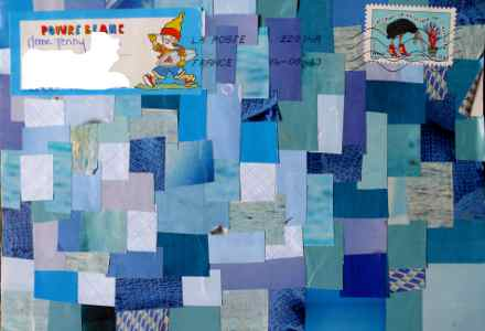 Echange de mail art, bleu